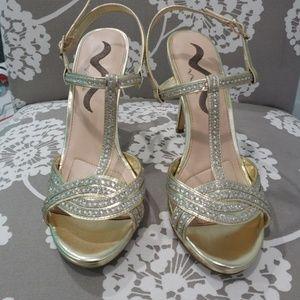 Gold Nina strappy heels